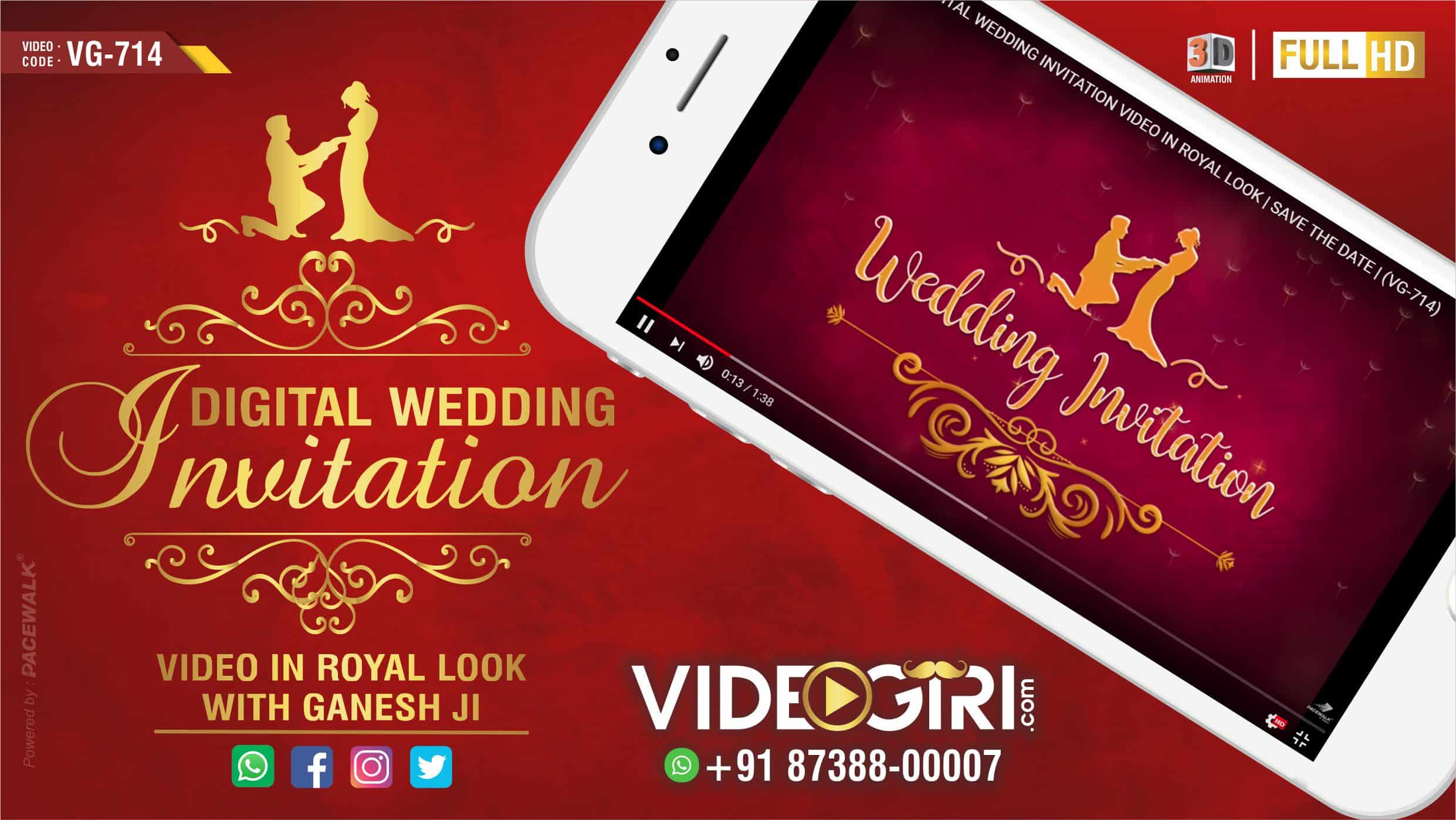DIGITAL WEDDING INVITATION VIDEO IN ROYAL LOOK (VG-714)