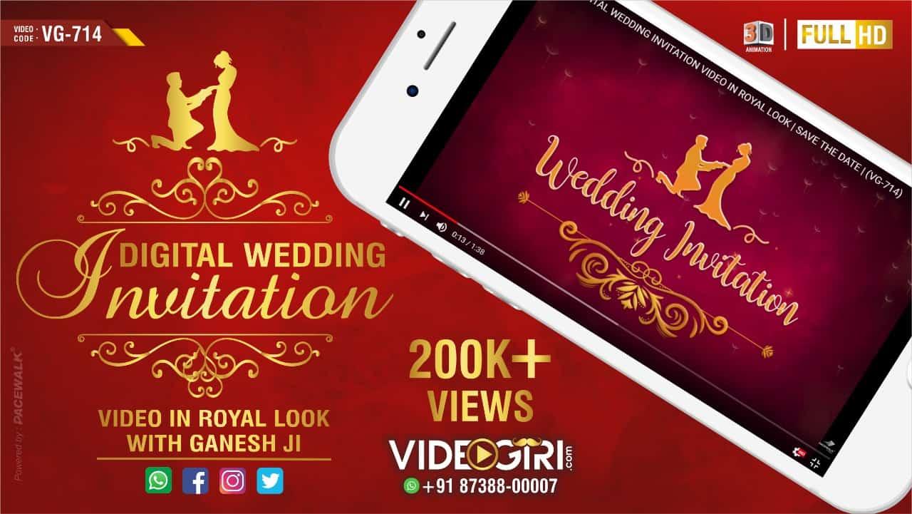 digital wedding invitation video in royal look with ganesh ji