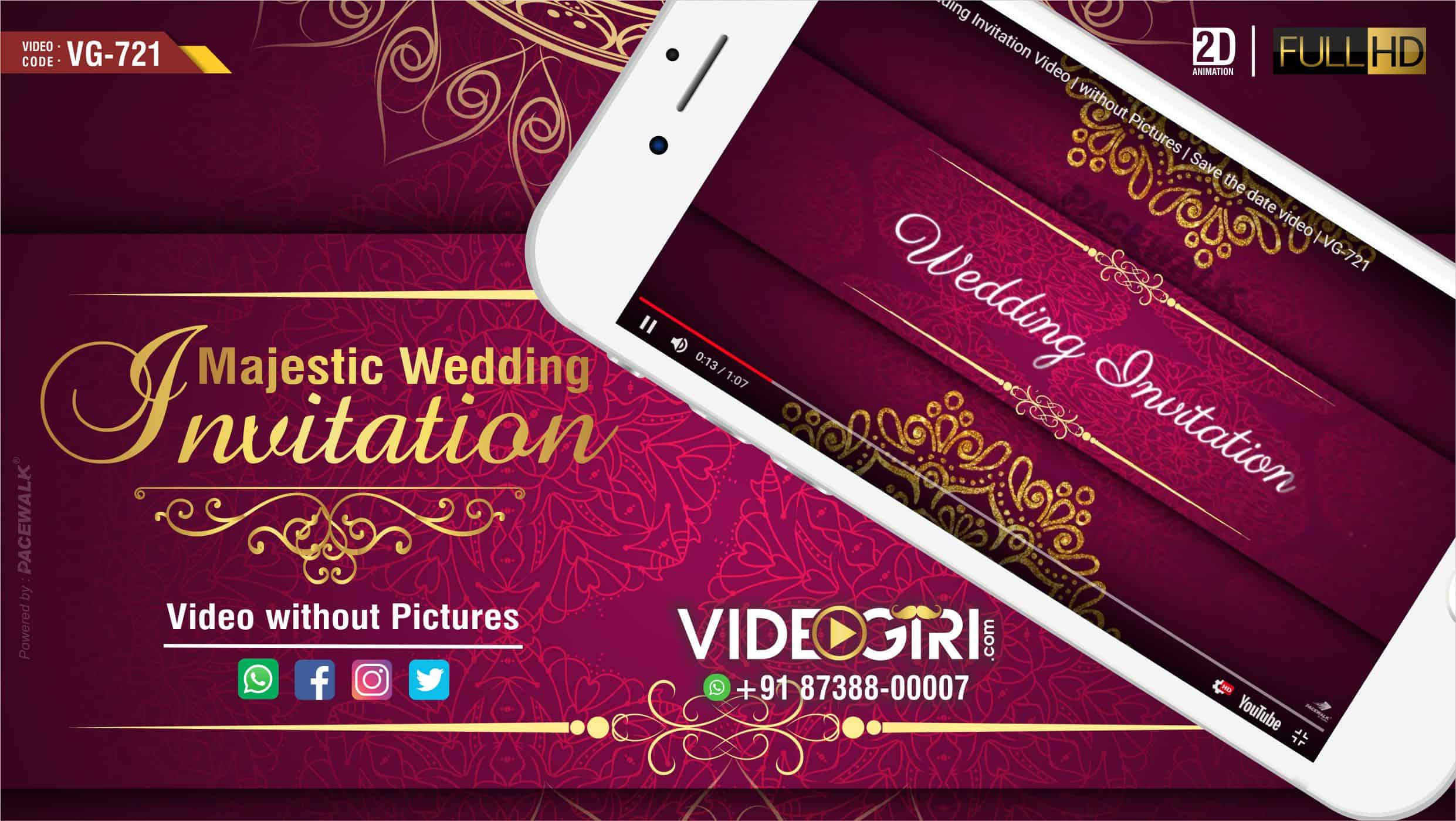 Majestic Wedding Invitation Video without Pictures Save the date video