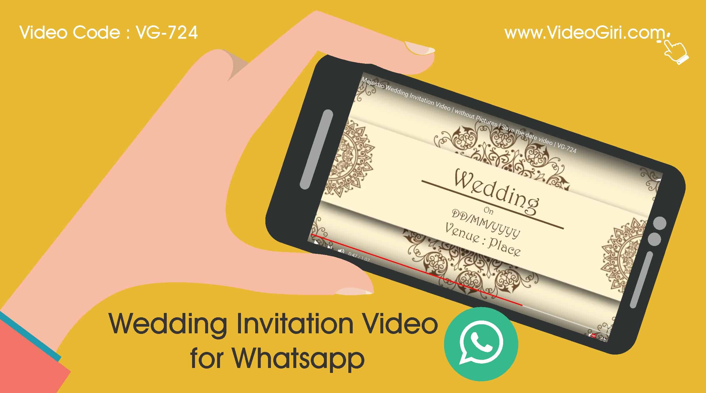 Majestic Wedding Invitation Video Without Pictures Save the Date Vg-724